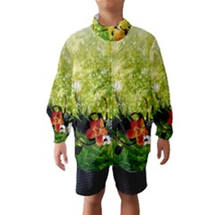 Awesome Flowers And Lleaves With Dragonflies On Red Green Background With Grunge Wind Breaker (Kids)