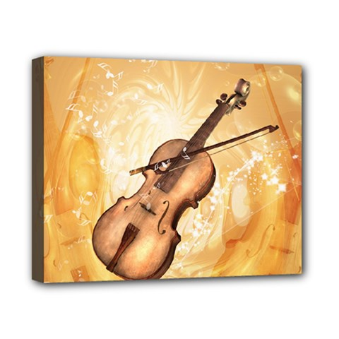 Wonderful Violin With Violin Bow On Soft Background Canvas 10  x 8