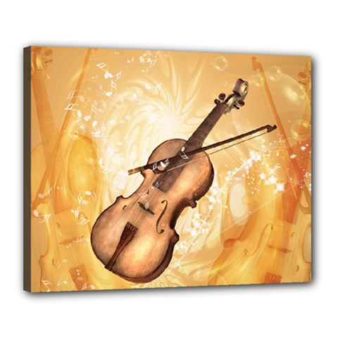 Wonderful Violin With Violin Bow On Soft Background Canvas 20  x 16