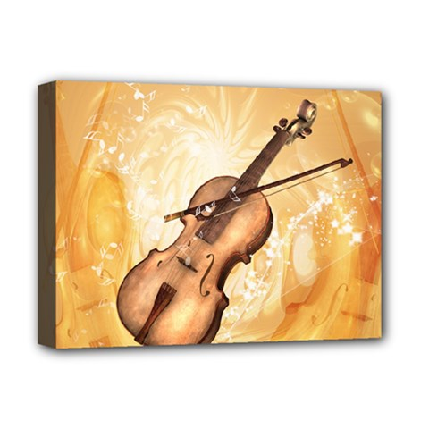Wonderful Violin With Violin Bow On Soft Background Deluxe Canvas 16  x 12
