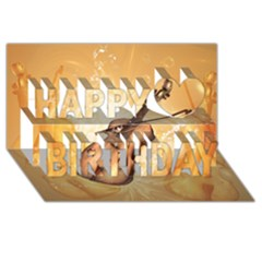 Wonderful Violin With Violin Bow On Soft Background Happy Birthday 3D Greeting Card (8x4)