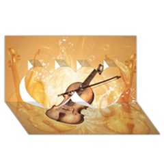 Wonderful Violin With Violin Bow On Soft Background Twin Hearts 3d Greeting Card (8x4)