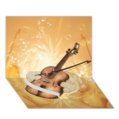 Wonderful Violin With Violin Bow On Soft Background Heart Bottom 3D Greeting Card (7x5)