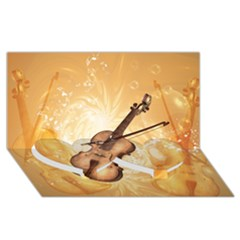 Wonderful Violin With Violin Bow On Soft Background Twin Heart Bottom 3D Greeting Card (8x4)