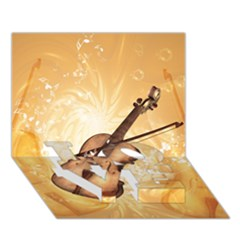 Wonderful Violin With Violin Bow On Soft Background LOVE Bottom 3D Greeting Card (7x5)