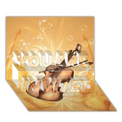 Wonderful Violin With Violin Bow On Soft Background You Are Invited 3d Greeting Card (7x5)