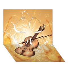 Wonderful Violin With Violin Bow On Soft Background Clover 3D Greeting Card (7x5)
