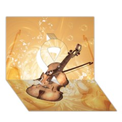 Wonderful Violin With Violin Bow On Soft Background Ribbon 3D Greeting Card (7x5)