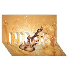 Wonderful Violin With Violin Bow On Soft Background HUGS 3D Greeting Card (8x4)