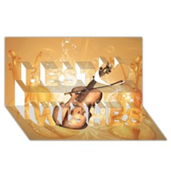 Wonderful Violin With Violin Bow On Soft Background Best Wish 3D Greeting Card (8x4)