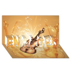 Wonderful Violin With Violin Bow On Soft Background ENGAGED 3D Greeting Card (8x4)