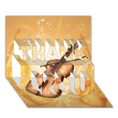 Wonderful Violin With Violin Bow On Soft Background THANK YOU 3D Greeting Card (7x5)