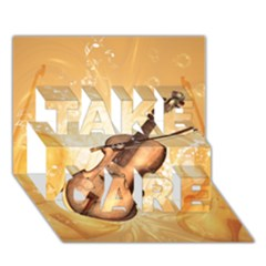 Wonderful Violin With Violin Bow On Soft Background TAKE CARE 3D Greeting Card (7x5)