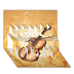 Wonderful Violin With Violin Bow On Soft Background You Did It 3d Greeting Card (7x5)