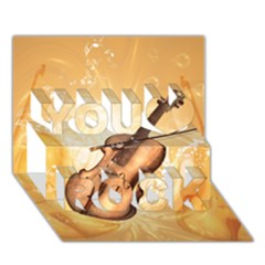 Wonderful Violin With Violin Bow On Soft Background You Rock 3d Greeting Card (7x5)