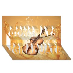 Wonderful Violin With Violin Bow On Soft Background Congrats Graduate 3D Greeting Card (8x4)