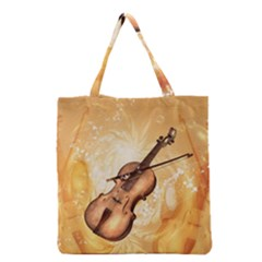 Wonderful Violin With Violin Bow On Soft Background Grocery Tote Bags