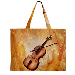 Wonderful Violin With Violin Bow On Soft Background Tiny Tote Bags