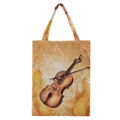 Wonderful Violin With Violin Bow On Soft Background Classic Tote Bags