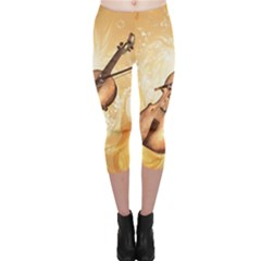 Wonderful Violin With Violin Bow On Soft Background Capri Leggings