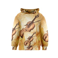 Wonderful Violin With Violin Bow On Soft Background Kid s Pullover Hoodies