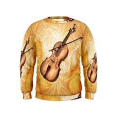 Wonderful Violin With Violin Bow On Soft Background Boys  Sweatshirts