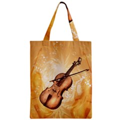 Wonderful Violin With Violin Bow On Soft Background Zipper Classic Tote Bags