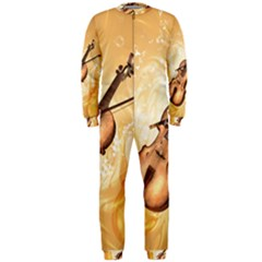Wonderful Violin With Violin Bow On Soft Background Onepiece Jumpsuit (men)