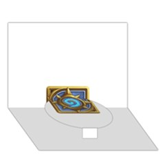 Hearthstone Update New Features Appicon 110715 Circle Bottom 3D Greeting Card (7x5)