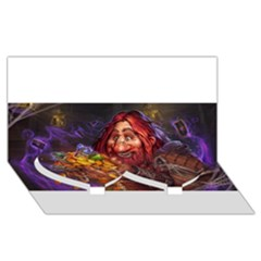 Hearthstone Gold Twin Heart Bottom 3d Greeting Card (8x4)