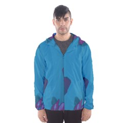 Purple And Turquoise Butterflies Hooded Wind Breaker (men)