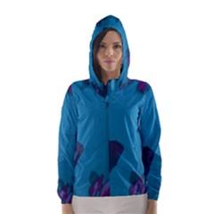 Purple And Turquoise Butterflies Hooded Wind Breaker (women)