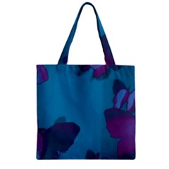 Purple And Turquoise Butterflies Zipper Grocery Tote Bags