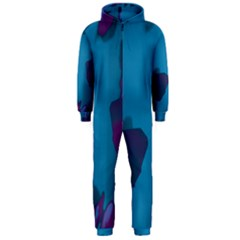 Purple And Turquoise Butterflies Hooded Jumpsuit (men)