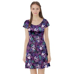 Flowers And Skulls Short Sleeve Skater Dress