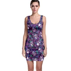 Flowers And Skulls Bodycon Dress