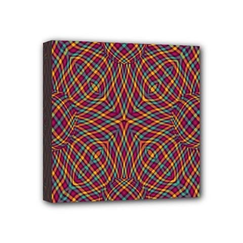 Trippy Tartan Mini Canvas 4  x 4  (Framed)