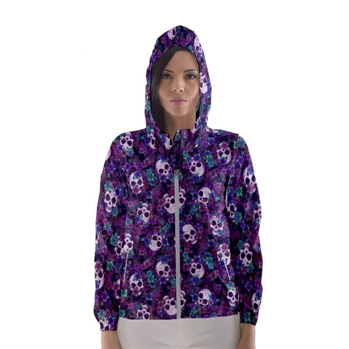 Flowers and Skulls Hooded Wind Breaker (Women)