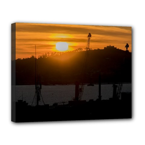 Aerial View Sunset Scene Of Montevideo Uruguay Canvas 14  x 11