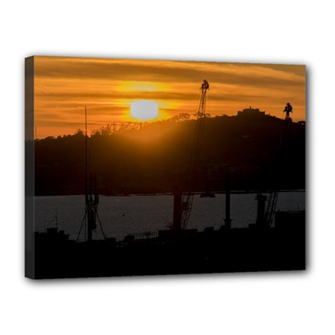Aerial View Sunset Scene Of Montevideo Uruguay Canvas 16  x 12