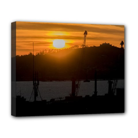 Aerial View Sunset Scene Of Montevideo Uruguay Deluxe Canvas 20  x 16