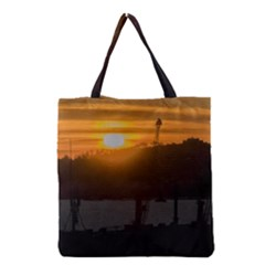 Aerial View Sunset Scene Of Montevideo Uruguay Grocery Tote Bags