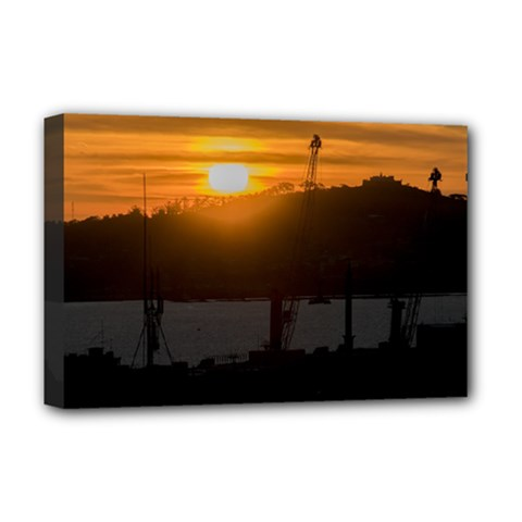 Aerial View Sunset Scene Of Montevideo Uruguay Deluxe Canvas 18  x 12
