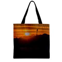 Aerial View Sunset Scene Of Montevideo Uruguay Zipper Grocery Tote Bags
