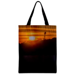 Aerial View Sunset Scene Of Montevideo Uruguay Zipper Classic Tote Bags