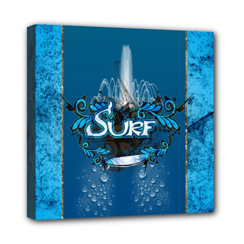 Surf, Surfboard With Water Drops On Blue Background Mini Canvas 8  x 8