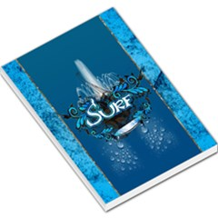 Surf, Surfboard With Water Drops On Blue Background Large Memo Pads