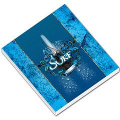 Surf, Surfboard With Water Drops On Blue Background Small Memo Pads