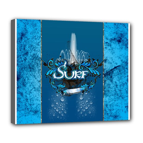 Surf, Surfboard With Water Drops On Blue Background Deluxe Canvas 24  x 20