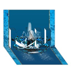 Surf, Surfboard With Water Drops On Blue Background I Love You 3D Greeting Card (7x5)